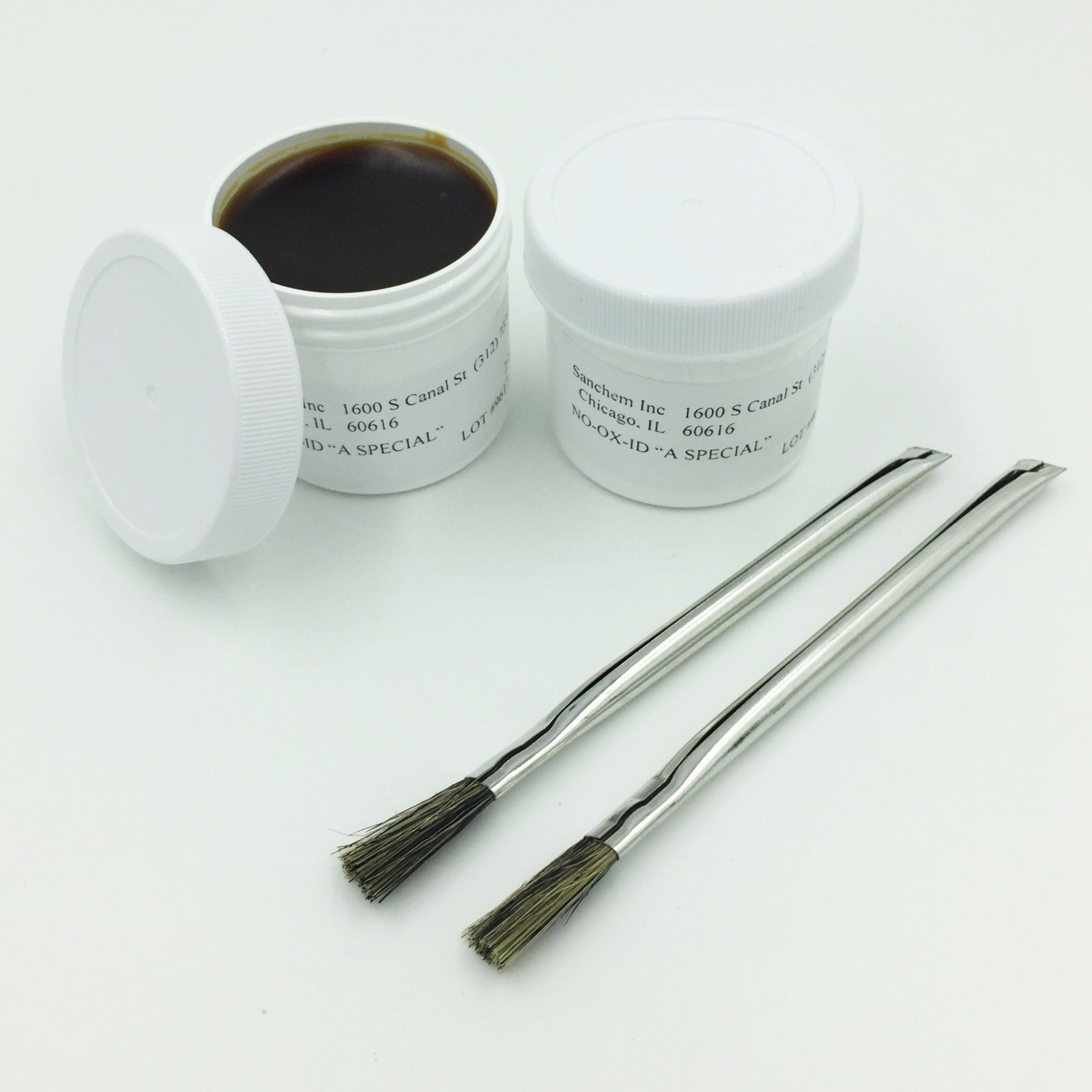 Two 2-ounce Tubs ''NO-OX-ID'' A-Special Electrical Contact Grease - Improves Conductivity and Fights Corrosion in Automotive Marine Industrial Maintenance Antenna and Railroad Applications