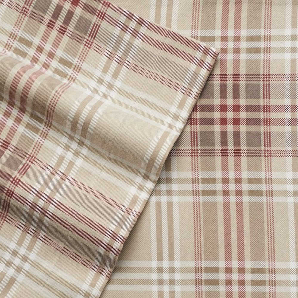 Cuddl Duds Heavyweight Queen Size Flannel Sheets (Khaki Plaid) - 4 pc set
