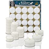 Ner Mitzvah Clear Cup Tea Light Candles - 50 Bulk Pack - White Unscented Travel, Centerpiece, Decorative Candle - 4.5 Hour Bu