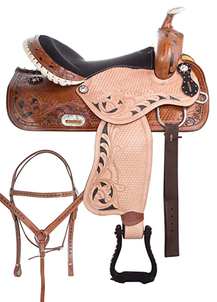 AceRugs 14 15 16 17 Western Saddle Barrel Racing Racer Pleasure Trail Show  Horse Leather Bridle Breast Collar TACK Set