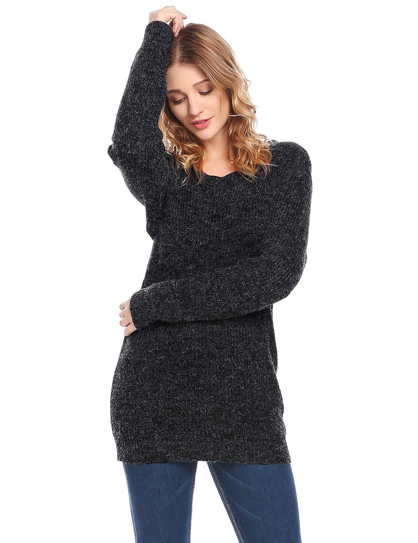 a76758da0bbb5 Zeela Femme Pulls Manches Longues Pullovers Col O Épais Chandail Haut Top  Blouse  Amazon.fr  Vêtements et accessoires