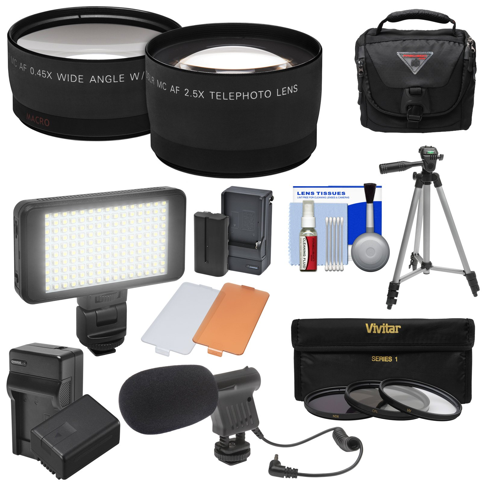 Essentials Bundle for Panasonic V770, VX870, VX981, WX970, & WXF991 Camcorder with Tele/Wide Lenses + LED + Mic + Battery/Charger + Case + Tripod + Filters Kit by Precision Design