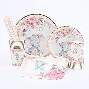 Elephant Baby Shower | Stunning Real Rose Gold Foil | Serves 16 | Elephant Party Supplies | Elephant Baby Shower or Birthday for Little Girl