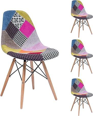 Homely - Pack de 4 sillas de Comedor o Cocina MAX Patchwork, de diseño nórdico-Scandi, Inspiración Silla Tower: Amazon.es: Hogar