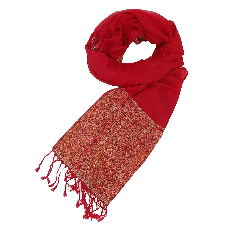 Pashmina Schal XXL Tuch (Rot) - 170x70cm - Umschlagtuch Wrap Seidenschal Stola Kaschmir