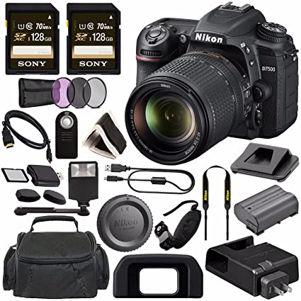 Nikon D7500 DSLR Camera with 18-140mm Lens 1582 + Sony 128GB SDXC Card +  Digital Slave Flash + HDMI Cable + Carrying Case + Remote + Memory Card