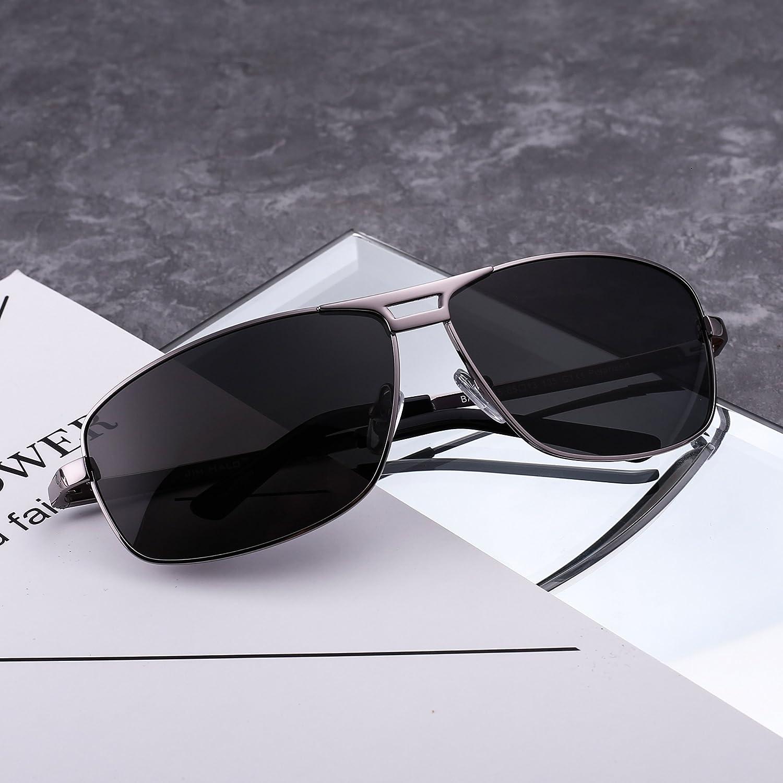 Polarisiert Rechteck Sonnenbrille Aviator Federscharnier Fahren Brillen Dame Herre(Silber/Polarisiertes Grau) UPyNvW