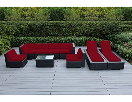Ohana 9 Piece Outdoor Patio Furniture Sectional Sofa And Chaise Lounge Set,  Black Wicker