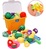 Kingwell Realistic Sliceable Cutting Fruits and Vegetables Toys Set with Basket (18pc)