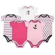 Luvable Friends Cotton Bodysuit, 5 Pack, Girl Nautical, 6-9 Months