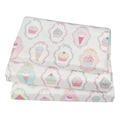 J-pinno Cute Cartoon Ice Cream Cup Cake Printed Twin Sheet Set for Kids Girl Children,100% Cotton, Flat Sheet + Fitted Sheet + Pillowcase Bedding Set: Home & Kitchen