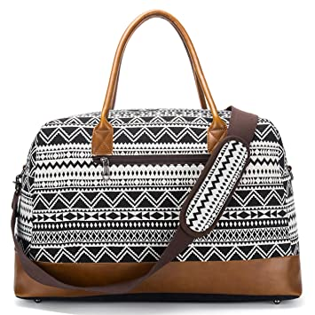 da9c47e61 Amazon.com | Weekender Duffel Bag for Women Mens Canvas Overnight Travel  Carry-on Tote Bags (Black) | Travel Duffels