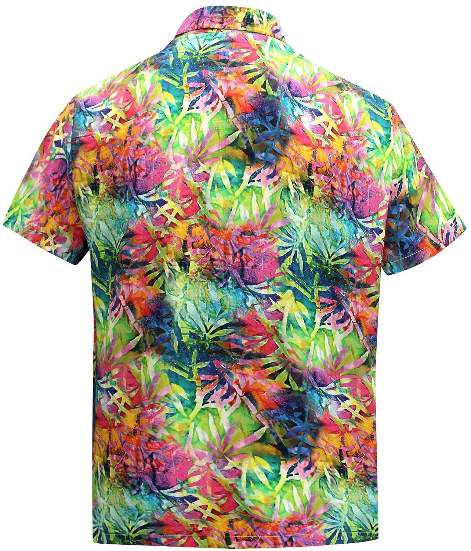 La Leela Vintage Blatt Beiläufig Hawaiische Knopf Unten Aloha Shirt  Mehrfarben Männer: LA LEELA: Amazon.de: Bekleidung