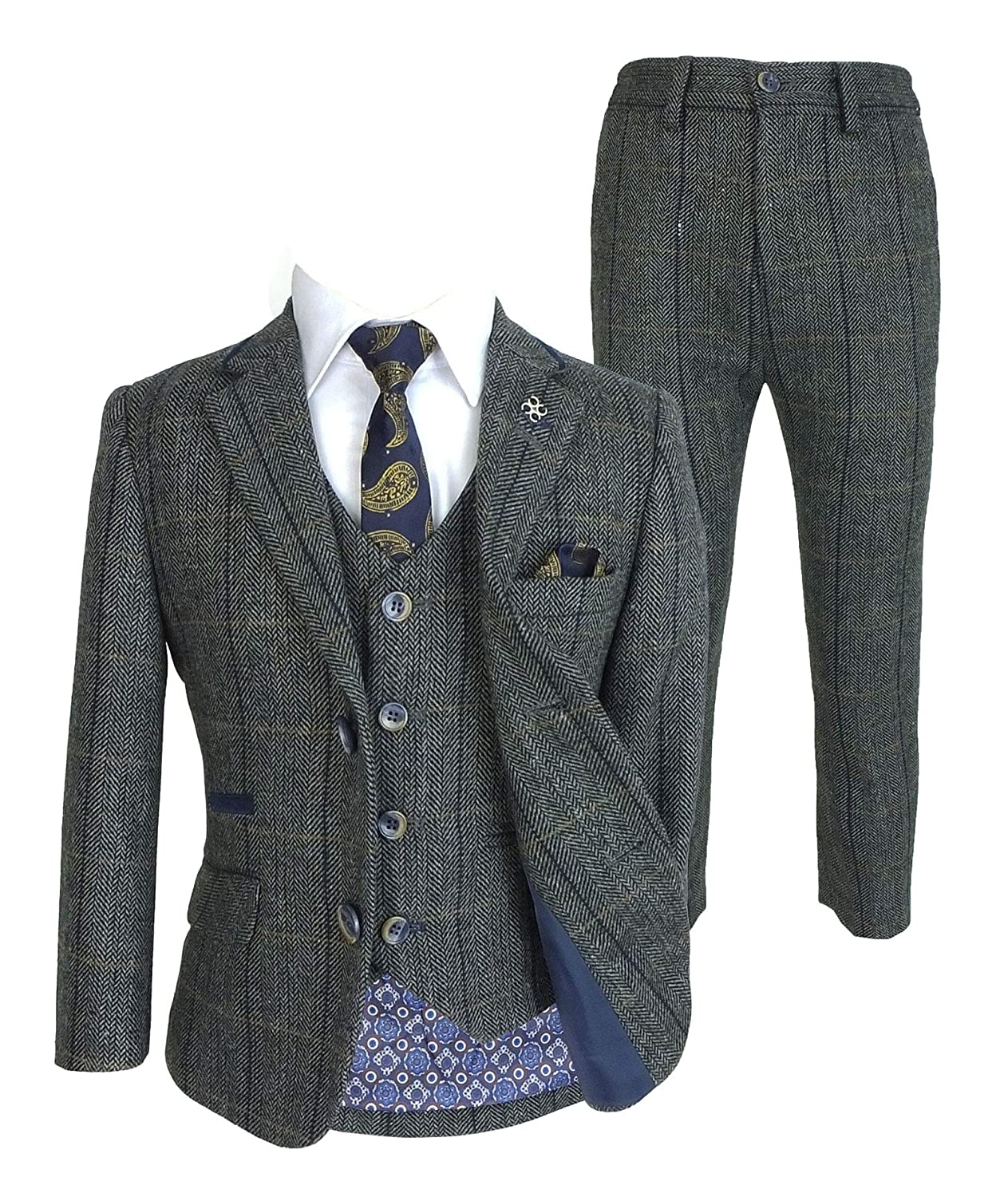 Boys Tweed Herringbone Wool Blend Wedding Suits