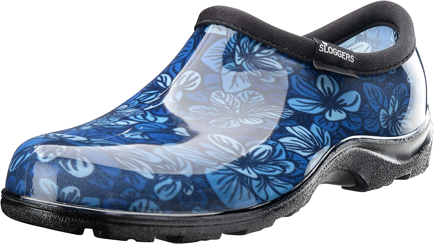 Sloggers Women's Waterproof Rain Garden Shoe Comfort Insole (6, Blooming Leaves Blue)