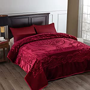JML Fleece Blanket King Size, Heavy Korean Mink Blanket 85 X 95 Inches- 9 Lbs, Single Ply, Soft and Warm, Thick Raschel Printed Mink Blanket for Autumn,Winter,Bed,Home,Gifts, Burgundy