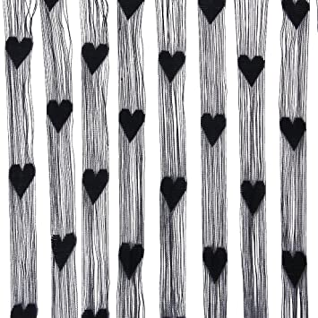 Door Curtain TOOGOO(R) Fringe Rope Heart Screen Door Curtain   Black