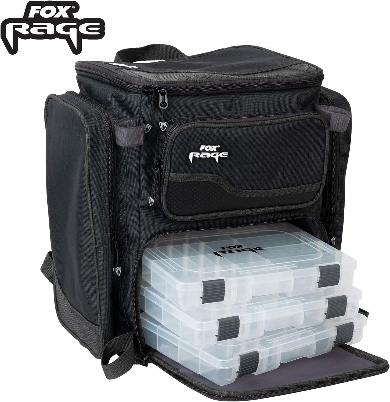 Fox Rage Sac /à Dos avec 3 bo/îtes de Rangement Noir