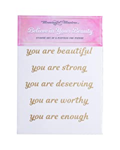 Motivational Mirror Stickers for Bathroom, Kitchen, Bedroom Living Room Wall Decals Quotes Beauty Stickers (Believe in Your Beauty)
