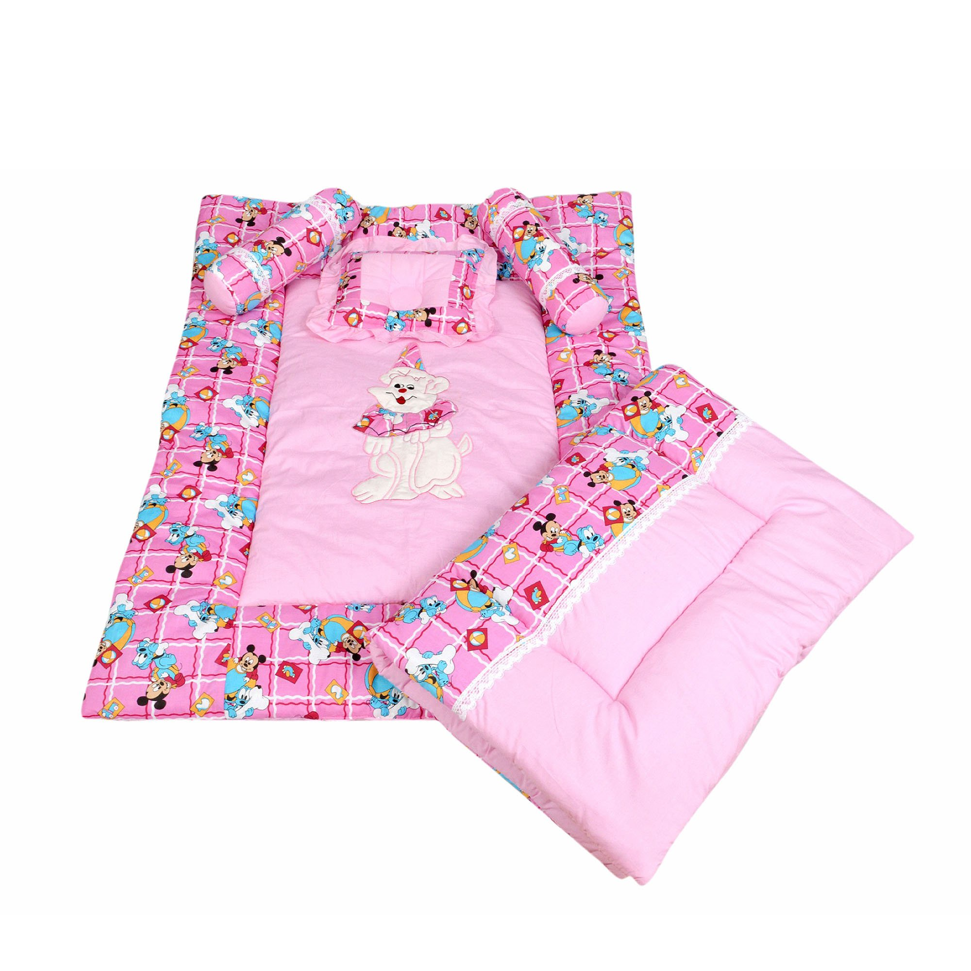 Maple Krafts Pure Cotton Baby Bedding set upto 24 months Pink with Pillow