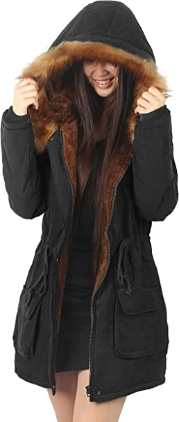 Warm Jackets Coats Hooded Faux With Parkas Fur Ilovesia Womens WEIY2He9D