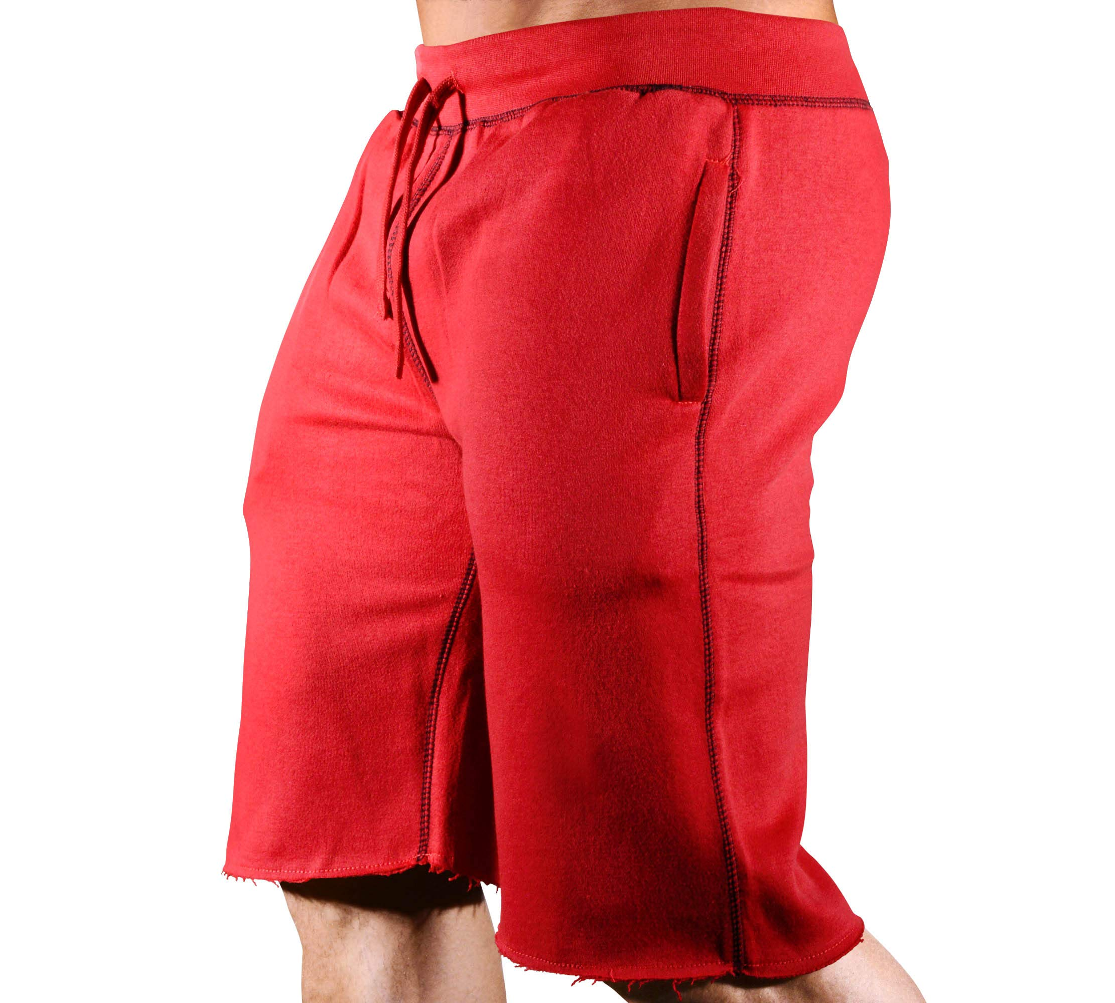 HRD LVN Mens Workout Shorts Classic (Small, Red SweatShorts) by Monsta Clothing Co.