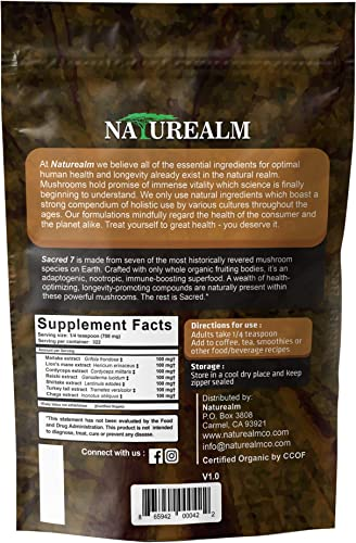 SACRED 7 Mushroom Extract Powder – USDA Organic – Lion s Mane, Reishi, Cordyceps, Maitake, Shiitake, Turkey Tail, Chaga – Immunity Supplement – Add to Coffee Tea – Real Mushrooms – No fillers – 226g