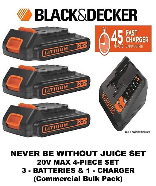 Cargador de batería de litio Black + Decker de 20 V máximo ...