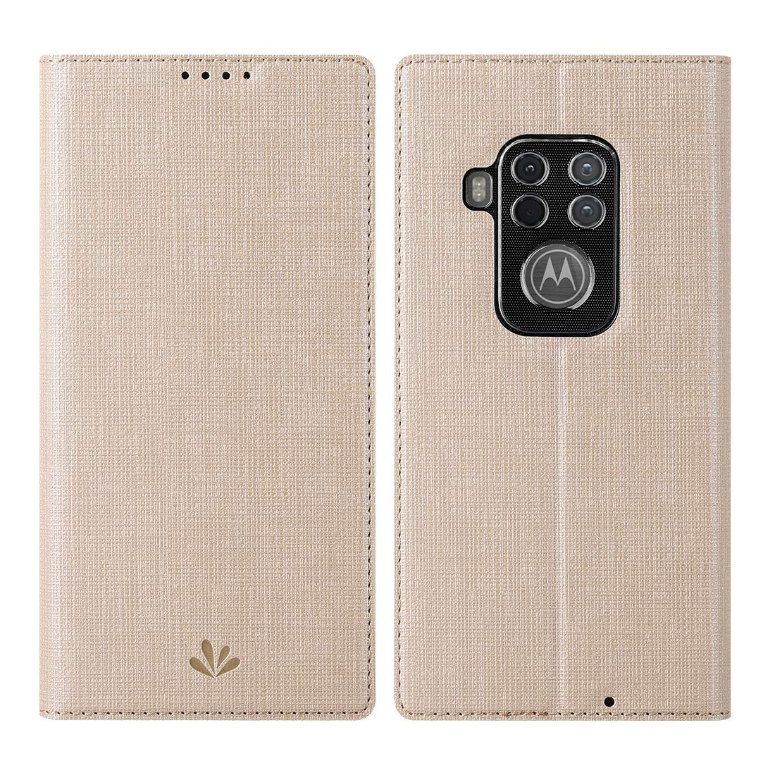 Funda Flip Cover Para Motorola One Zoom, Dorada