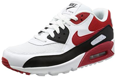 Men's Nike Air Max 90 Essential Black Sport Red White Sneakers : U24y4161