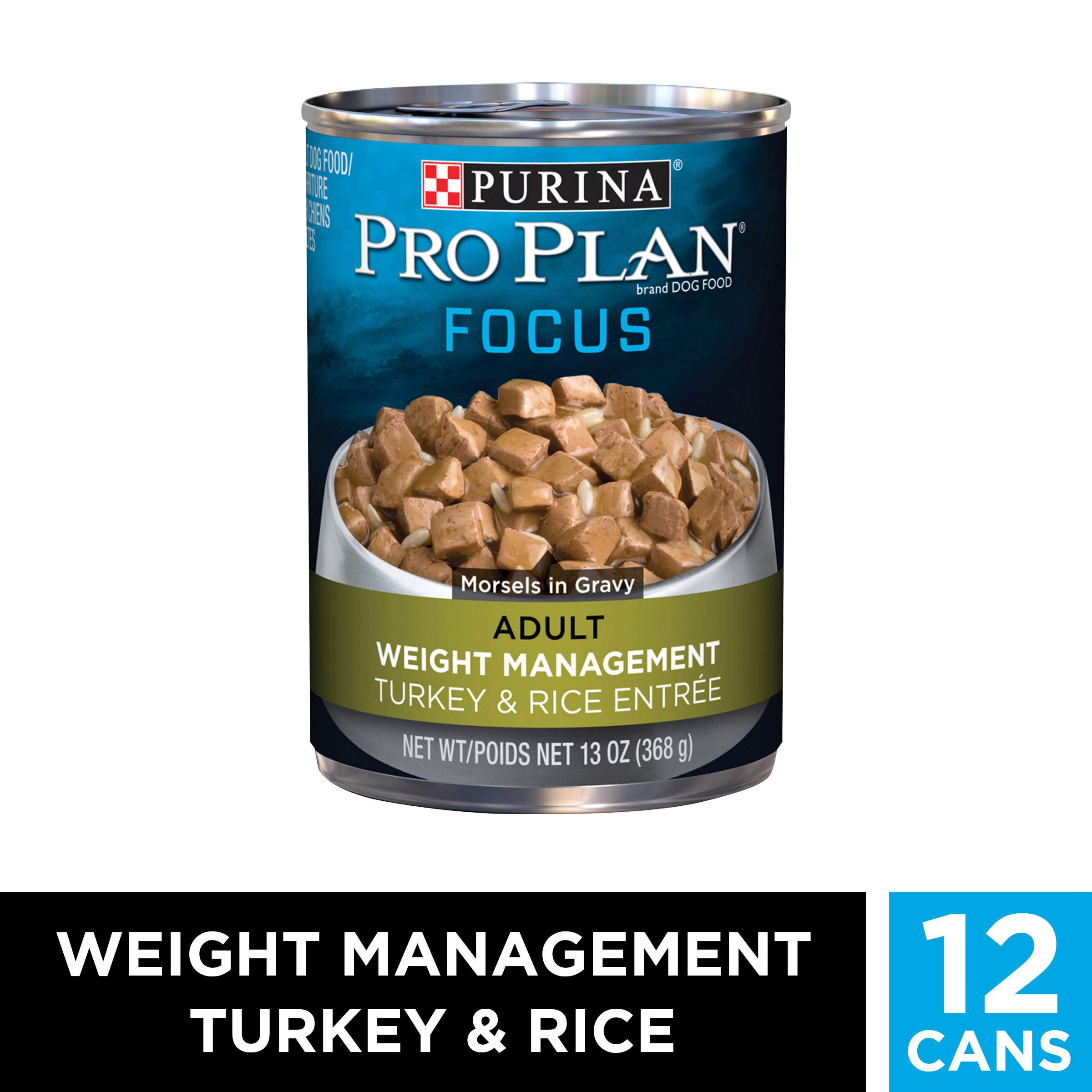 Purina Pro Plan Low Fat, Weight Management Gravy Wet Dog Food, FOCUS Weight Management Turkey & Rice Entree - (12) 13 oz. Cans by PURINA Pro Plan