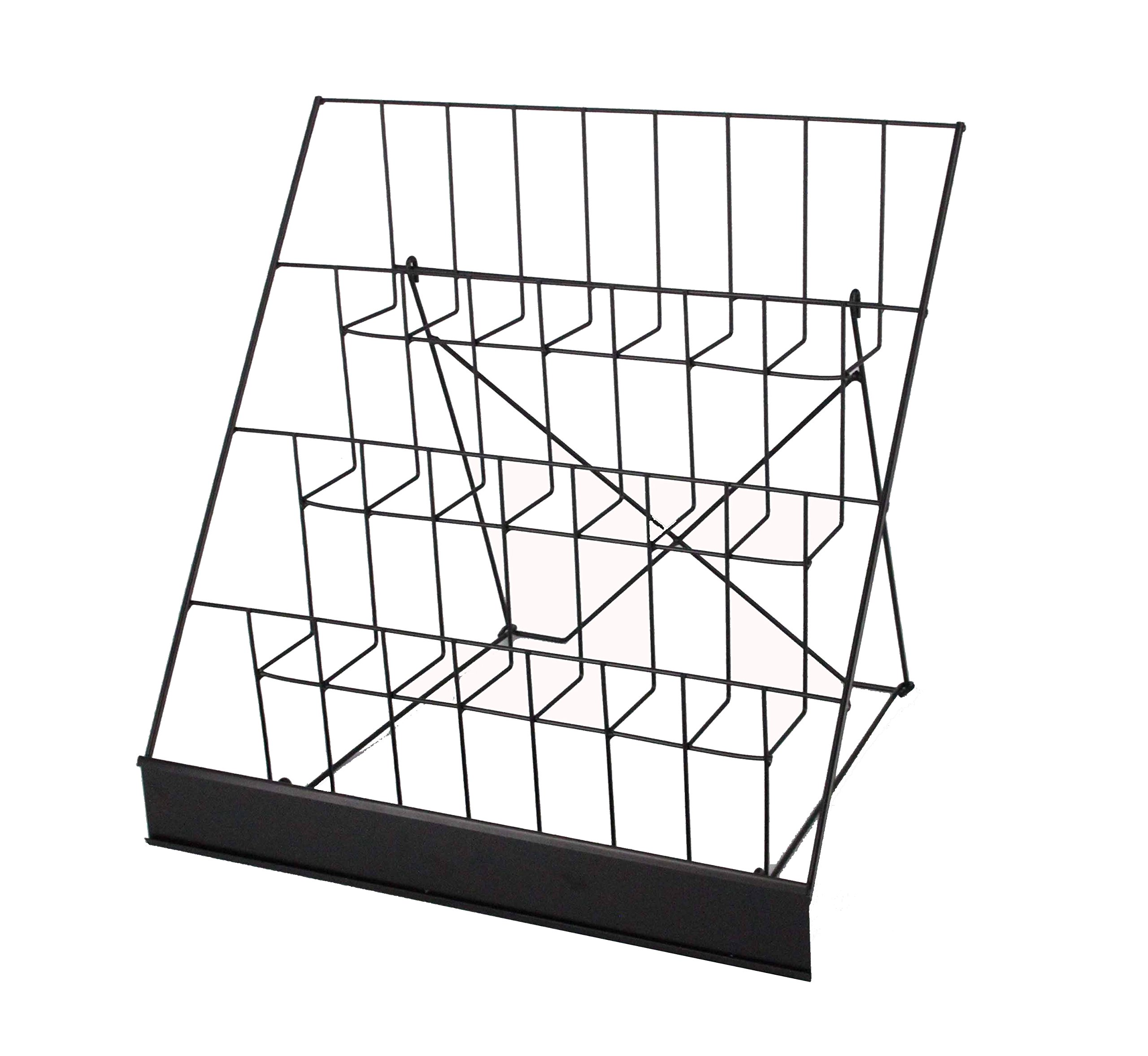 FixtureDisplays 4-Tiered Greeting Card Rack, 18'' Wire Greeting Card Holder for Tabletop Use, 2.5'' Open Shelves, with Header - Black 119362-Greeting Card by FixtureDisplays