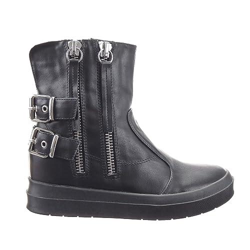 Sopily - Zapatillas de Moda Botines Low boots Zapatillas de plataforma Tobillo mujer Hebilla Cremallera Talón