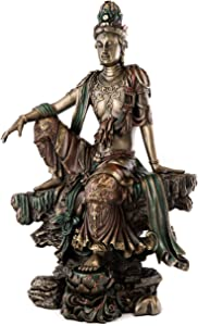 Top Collection Water and Moon Quan Yin Statue in Royal Ease Pose- Kwan Yin Goddess of Mercy Kwan Yin Sculpture in Cold Cast Bronze-14.75-Inch Figurine