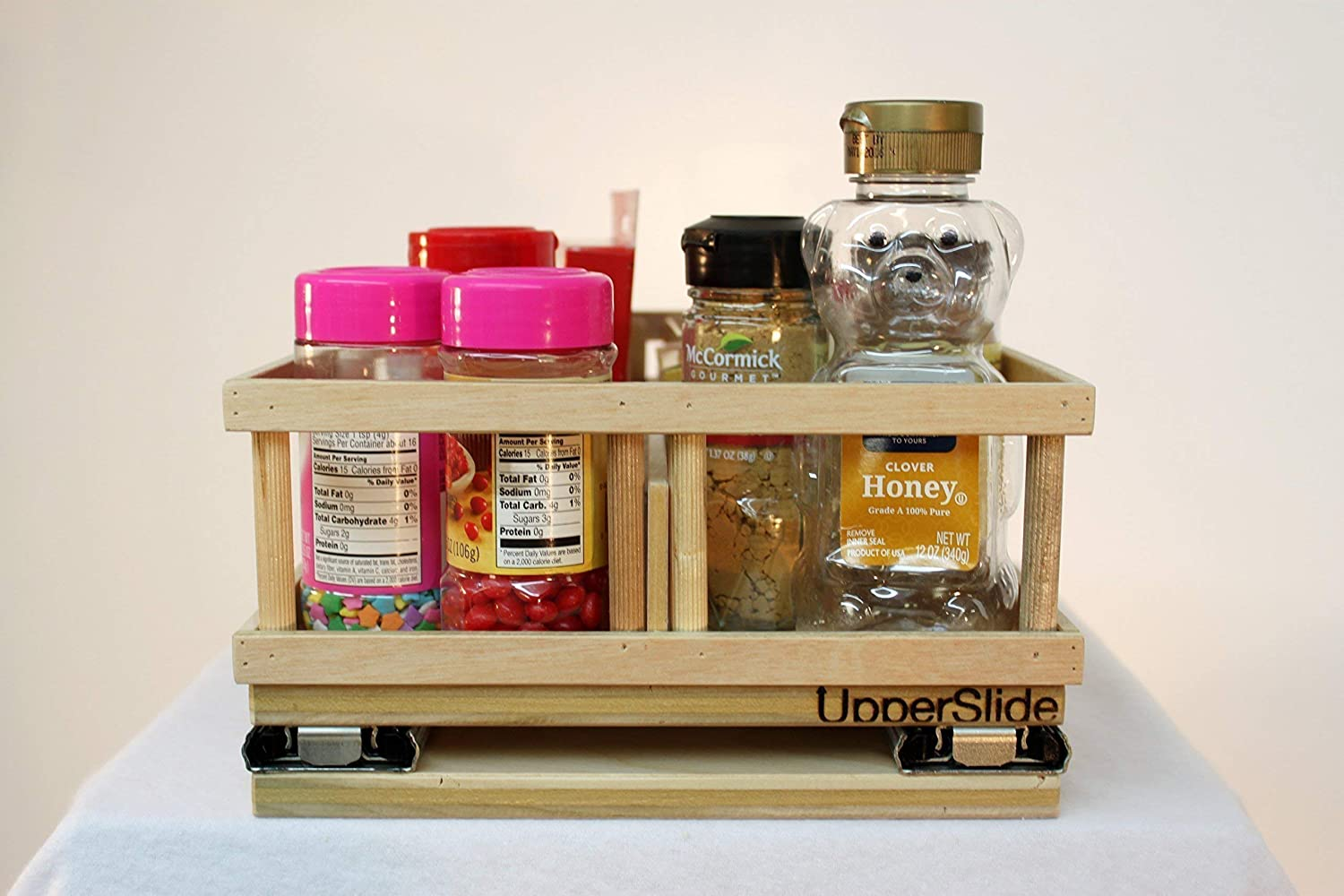 UpperSlide Cabinet Caddies Small Spice Rack Pull Out Caddy Upper Cabinet Storage fitting most 12 inch cabinets (US 303S) FREE SHIPPING