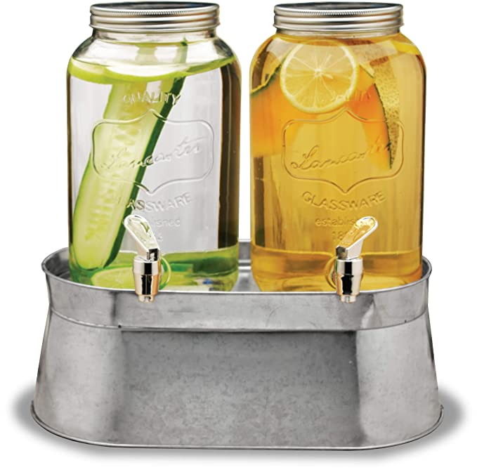 Circleware 92022 Double Mini Mason Jar Glass Beverage Dispensers with Stand Bucket, Fun Party Home Entertainment Glassware for Water, Juice, Beer, Punch, Iced Tea Drinks, 120 oz each each, Lancaster best beverage dispenser best beverage dispenser