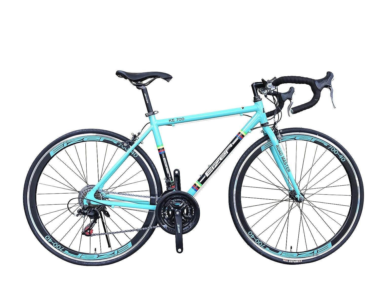 Eizer(アイゼル) 【ロードバイク】軽量アルミ700Cフレームに定番シマノ21速 700Cエアロホイール装着40mmディープリム仕様でレーシーデザイン&カラーリング 好みに合わせて全4色のカラーバリエーション KE700ライトブルー KE700 ライトブルー 700C B075FT6MX4