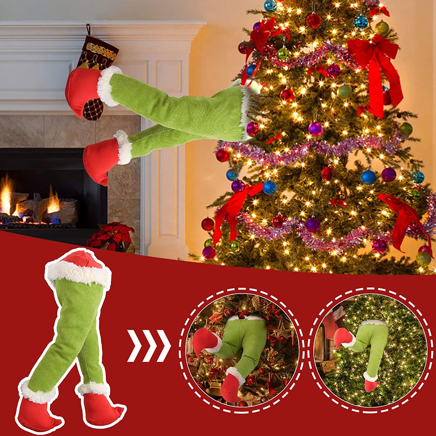 UTPO Christmas Decorations, Christmas Tree Ornament How The Grinch Stole Christmas Stuffed Elf Legs Stuck in Christmas Burlap Wreath for Fireplace Car Door Party Home Decor