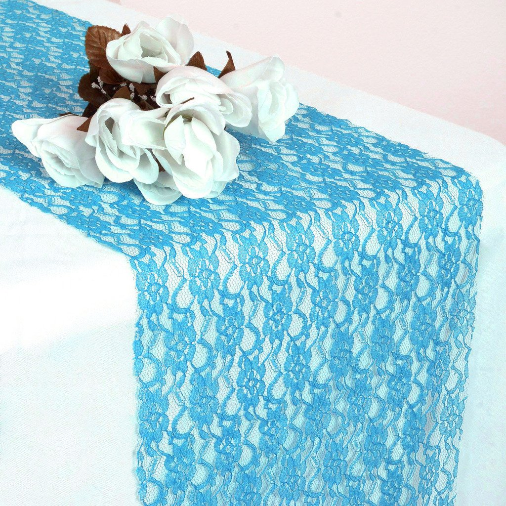 VDS set Of 10 Turquoise 12x 108 inch Lace Table Runner For Wedding Banquet Decor table runner , dresser, party supply by VDS (Image #2)