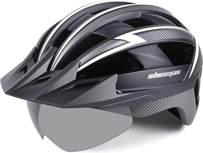 Shinmax Casco Bicicleta Carretera Casco Seguridad CE stándar/Casco de Escalada Ajustable con luz de Seguridad y Visera extraíble y Gafas de montaña ...