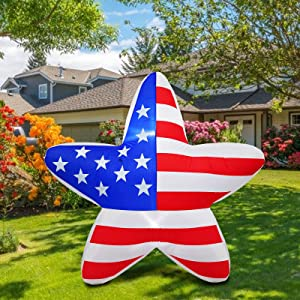 PARAYOYO 4 Ft 4 Ft Inflatable Star LED Light Patriotic Decor Independence Day 4th of July Decoration Blow up Inflatables Home Party Indoor Outdoor Yard Lawn