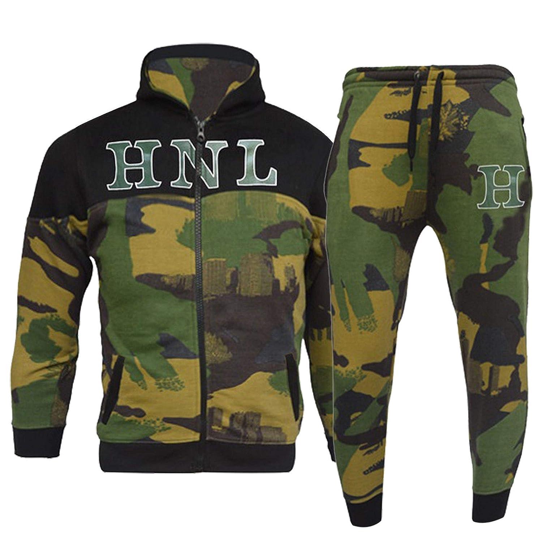 Khaki Green HNL Projection Boys//Girls Designer Tracksuit Zipped TOP Bottoms Kids Jogging Suits Age 7-14