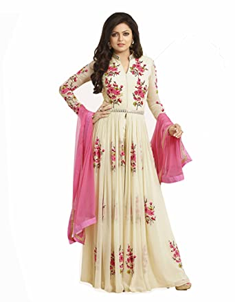 1c87517c3 Women s Special Party Wear White Color Georgette Embroidery and Party Wear  Semi Stitched Anarkali Salwar Suit  Amazon.in  Clothing   Accessories