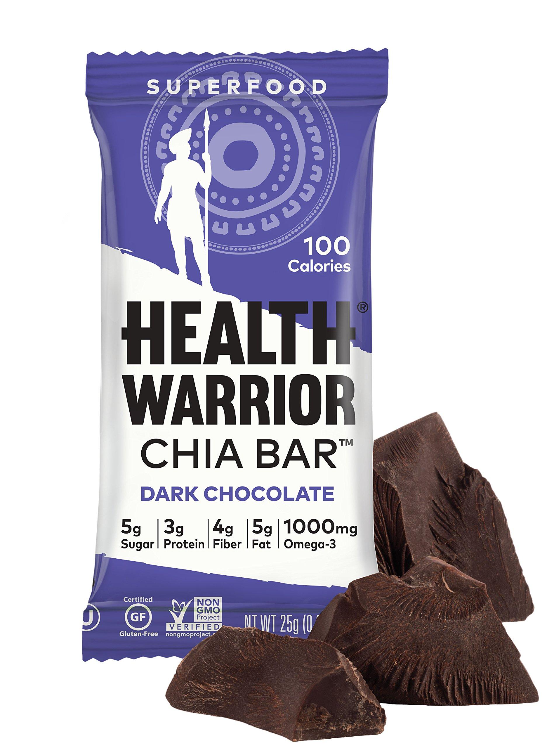 HEALTH WARRIOR Chia Bars, Dark Chocolate, Gluten Free, 25g bars, 15 Count