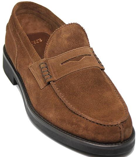 Zapato mocasín con Antifaz,Ante Becerro Primera Calidad,Color marrón Claro.