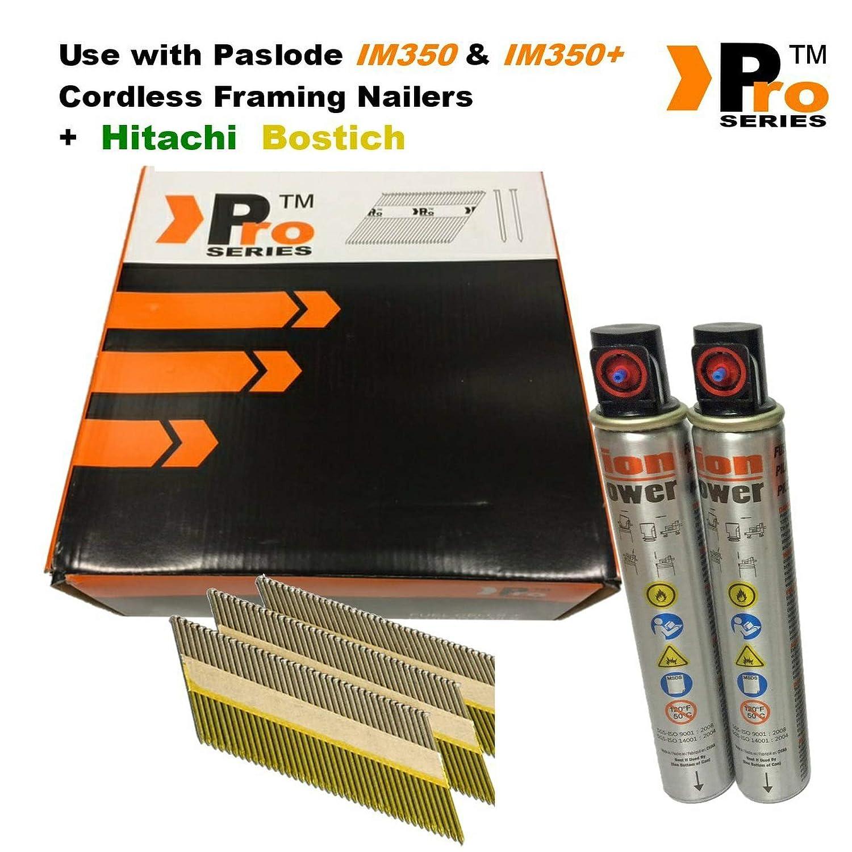 carburant 2/K ongles /& 2/cellules pour Paslode//Hitachi Nailers peut saccrocher D-Head 75/mm Anneau galvanis/é pour cadres ongles
