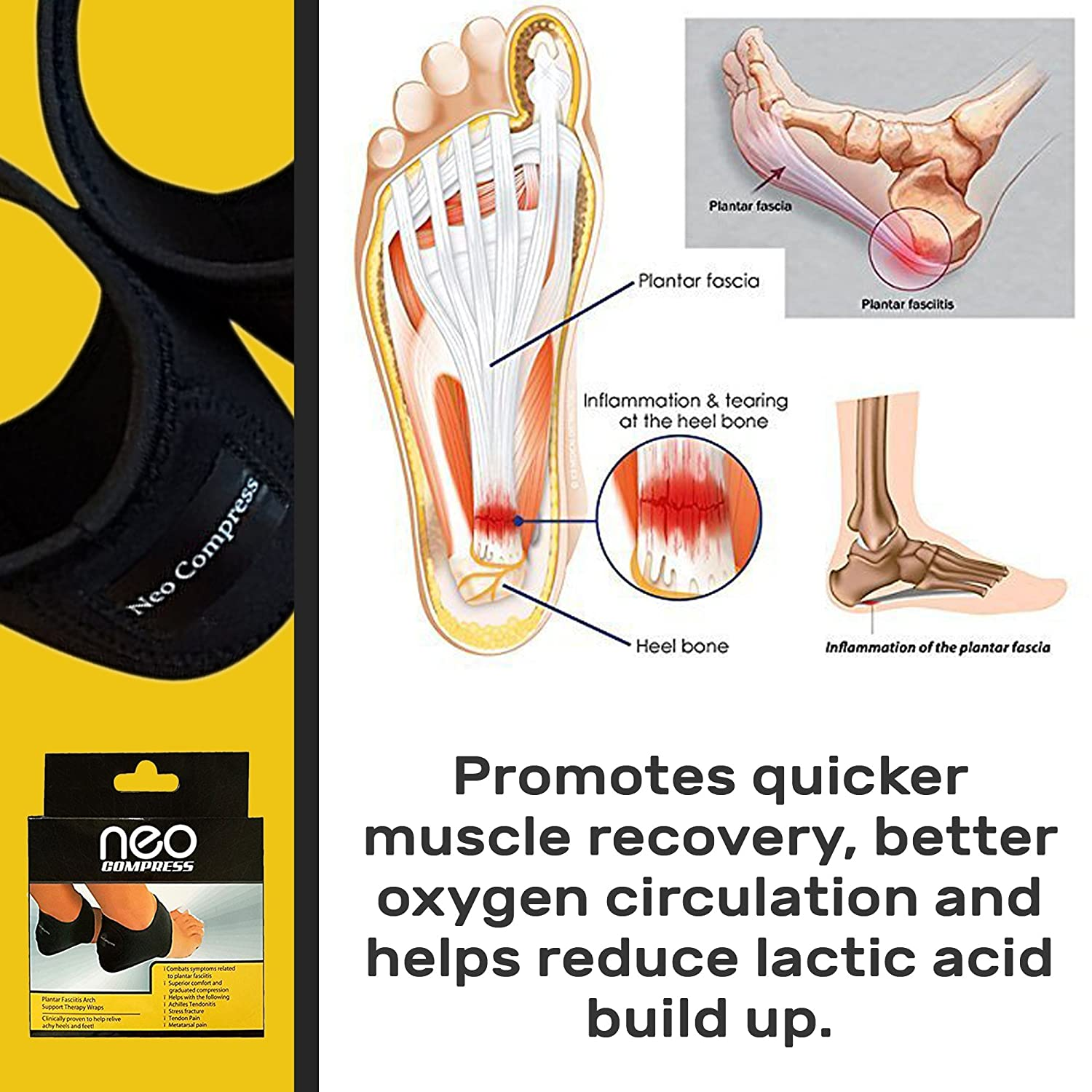 Plantar Fasciitis Therapy Wrap, Relief from Heel and Foot Pain, Arch ...