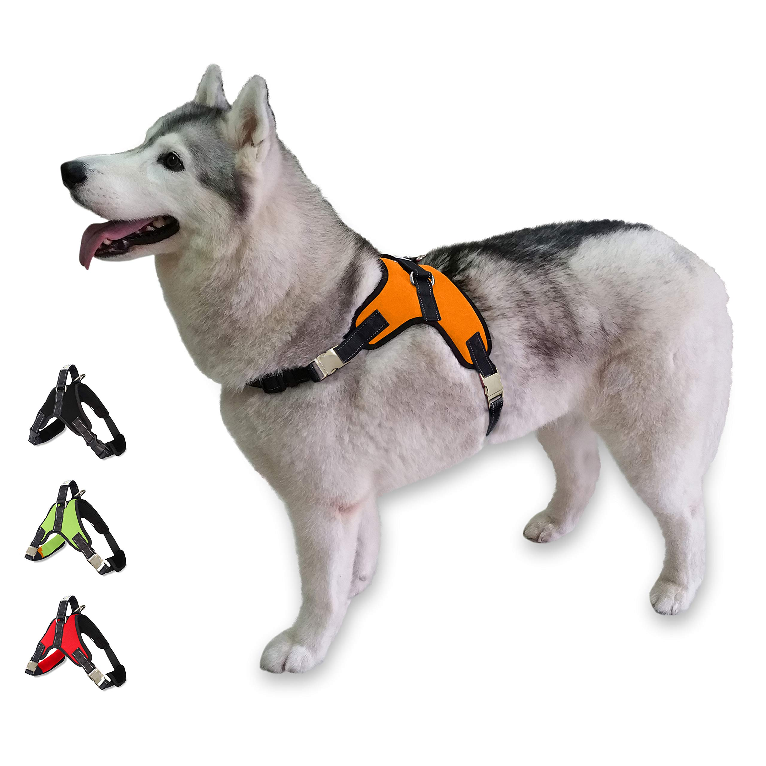Cosy Meadow Escape Proof Dog Harness - Padded No Pull Everyday Soft Sport Vest   Secure to Car Seat Belt   No Choke   Sturdy Handle   2019 New & Improved   Prime   Orange Large Breed