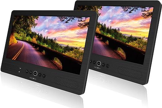 Reflexion Dvd1052 Twin Monitor Mit 25 7 Cm 10 1 Zoll Dvd Player Auto Kopfstützenmontage Autoreiseset Usb Sd Mmc Kopfhörerausgang Fernbedienung 12v Adapter Schwarz Heimkino Tv Video