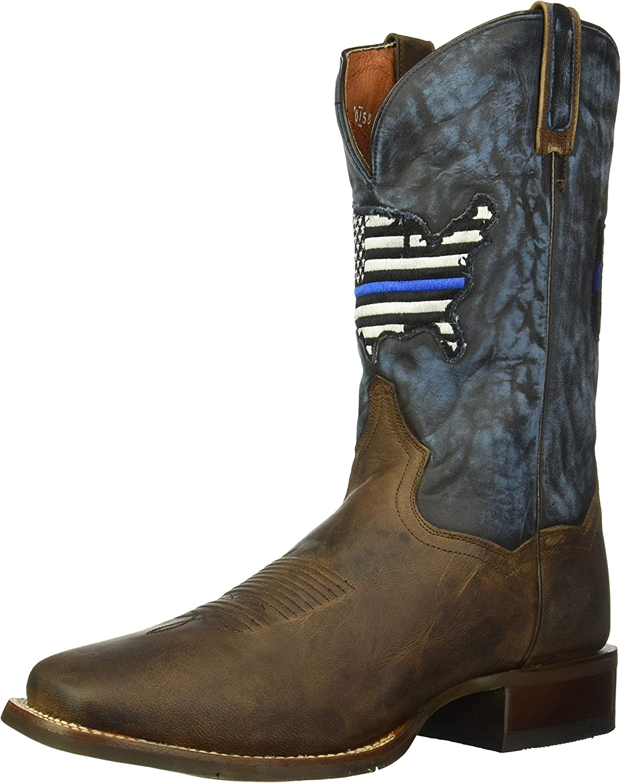 Dan Post Men's Thin Blue Line Flag Patch Cowboy Boot Square Toe Brown 9.5 EE 81LoLUi27JLUL1500_